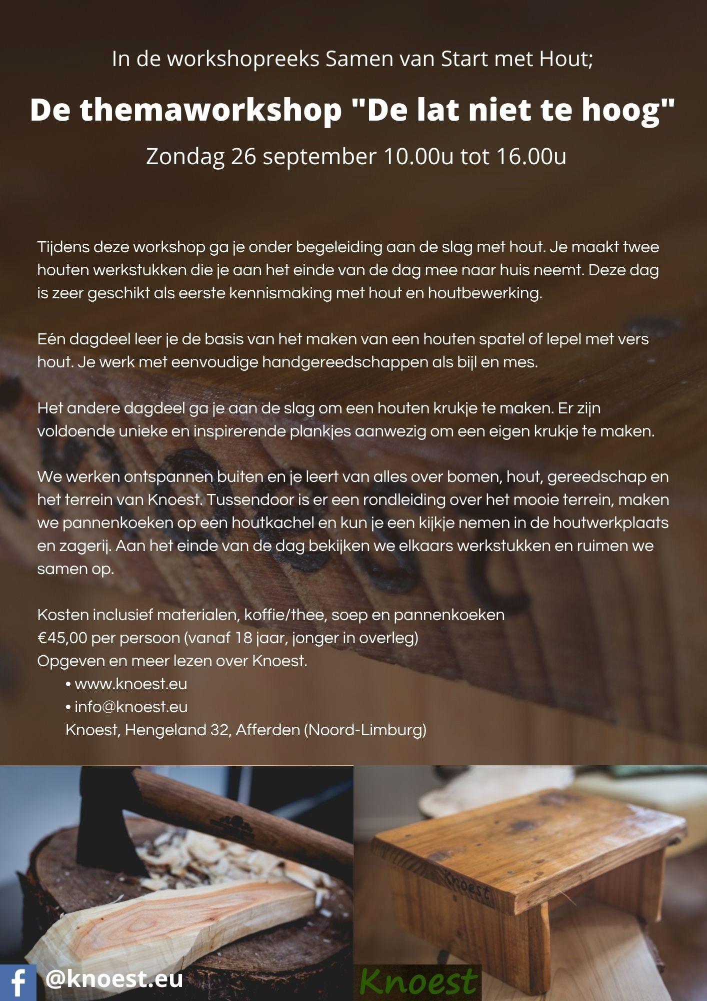 Lees meer over het artikel Workshop De Lat niet te hoog zondag 26 september '21